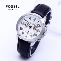 Jam Tangan Wanita Murah Fossil Ladies RMW35 Leather Light Black Silver