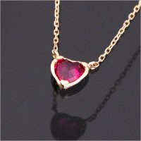 Ruby Ruby Heart Birthstone Necklace 14K Gold Chain amounts July