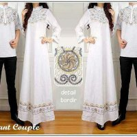 Baju Couple Muslim Putih Katun Bordir Elegant / Gamis Dress Kemeja Couple Murah