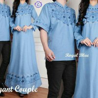 Baju Couple Muslim Katun Bordir Elegant / Gamis Maxi Dress Kemeja Couple Murah