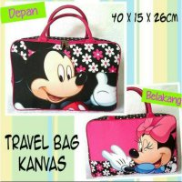 [PROMO] TRAVEL BAG KANVAS/ TAS TENTENG BAJU MINNIE MICKEY MOUSE
