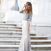 [globalbuy] Long Shiny Sequined Lace Skirt Female Pencil Skirt Variety Color Girls Skirt H/4201081