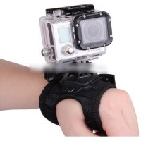 Glove Style Velcro Wrist Band with Mount for Xiaomi Yi / Xiaomi Yi 2 4K and GoPro Hero 3+ / 3 / 2 / 1 - Black