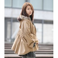 Cape shearing field image / Cape Safari raccoon fur trim hooded coat winter outerwear