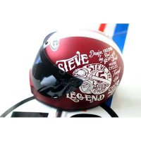 Helm Cakil HBC Maroon + Outer Visor - Full Face. Free Sarung Backpack