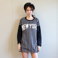 (EL-00020) - [] New York baseball tee dangara / round neck / casual look / brushed lining / Park Sihoo / rujeupit / cute / pattern / print
