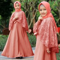 Baju Muslim Dress Aanak Brukat Dusty Pink [Anggi kids dusty AK]