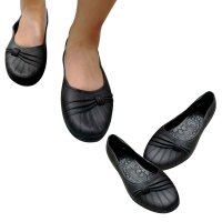 Flat Jelly Shoes Hitam Bunga Samping