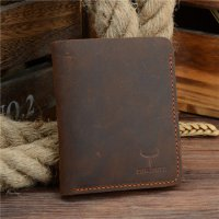 COWATHER Dompet Kulit Pria Vintage Vertical Style - Coffee