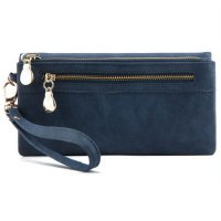 Dompet Wanita Clutch Long Zipper Smartphone Wallet - Blue