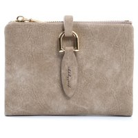Ms Brief Dompet Wanita Kecil Lipat Leaf Buckle Paragraph Wallet - Coffee