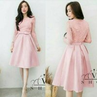 Midi Dress Casual Brokat Pita Tengah