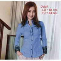 Blouse Blouse Wanita Cotton Blue [Hem Blue LT]
