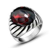 Cincin Pria Punk Stainless Steel Batu Created Red Ruby