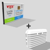 Vizz Baterai Double Power Advan S50,2300 mAh + Power Bank 7200 mAh Putih