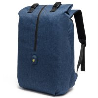 Tas Ransel Roll Top Travel Backpack dengan USB Charger Port - Blue