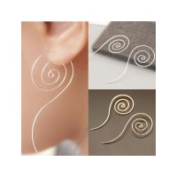 RAT1101W - Aksesoris Anting Korean Long Spiral Twist