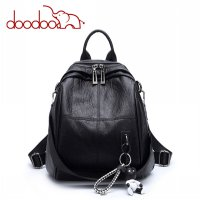 Doodoo Tas Ransel Wanita Model Vintage Retro 2 Way Backpack - Black