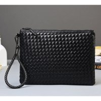 Tas Genggam Kulit Motif Anyam Kulit Leather Clutch Bag - Black
