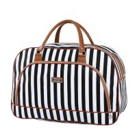 Tas Travel Jinjing PU Leather Duffle Bag - Black White