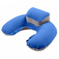 Bantal Leher U-Shape Inflatable Air Blow Up - Blue