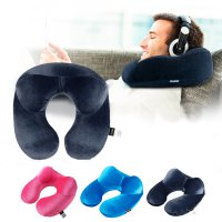 Bantal Leher U-Shape Inflatable Travel Neck Pillow - Dark Blue