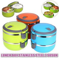 Lunch Box 2 Susun Rantang Double Stainless Steel Polos Warna Dobel Uni