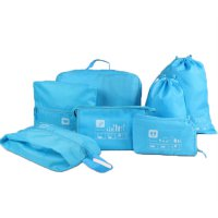 Tas Travel Bag in Bag Organizer Pakaian 7 in 1 - Blue