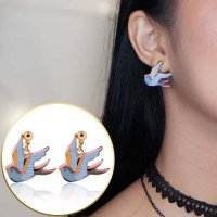 ANTING 028FFDr Color Drops Of Oil Swallows Soft Style Earrings Blue
