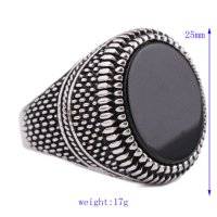 Cincin Pria Super Hero Black 316L Stainless Vintage Silver Plated
