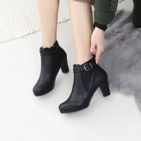 Buckle Platform Hill Ankle Boots 7FAT8777 Korean fashion style