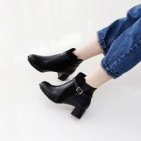 Suede Combination Ankle Boots 7FAT8567 Korean fashion style