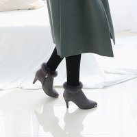 Per trimming ankle boots 7FMT7036 Korean fashion style