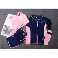 Baju Renang Wanita Long Sleeve Rash Guard Swimsuit Set Size L - Pink