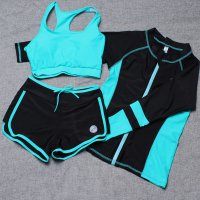 Baju Renang Wanita Long Sleeve Rash Guard Swimsuit Set Size M - Green