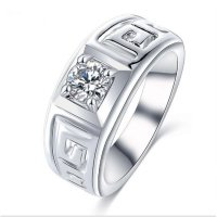 Cincin Pria High Quality Silver Color Mail Letter G Hollow AAA Zirconia