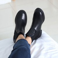 [More than imagination] Stud trimming flat walker (QA148) Ankle boots korean fashion style