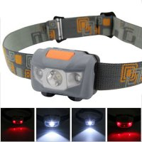 Headlamp Flashlight Waterproof White And Red LED - Gray