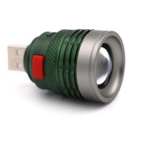 Senter LED USB Zoomable Mini Handy Flashlight 800 Lumens - Army Green