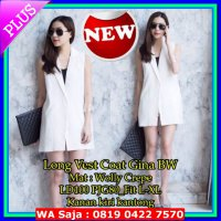 (Coat) [Long Vest Coat Gina SW] coat wanita wolly crepe putih