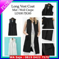 Vallerie design long vest coat woll crepe