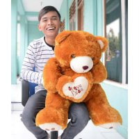 Boneka Teddy Bear I Love You Coklat Besar 80 Cm Diva store