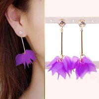 Flower Pendant Long Simple Wild Jewelry Earrings - Purple