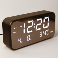 Jam Alarm Digital dengan Sensor Temperature + Calender + Mirror - 8801 - Black