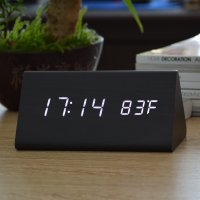 Jam Alarm LED Wood Thermometer Sensor Suara - 909 - Black