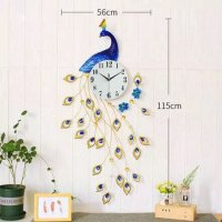 Jam Dinding Quartz Creative Design Model Burung Merak - Blue