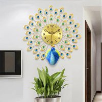 Jam Dinding Quartz Creative Design Model Burung Merak 3D 60 x 60 CM - Golden