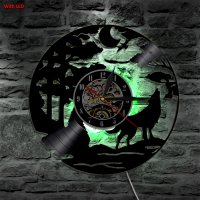 Jam Dinding Quartz Creative Design Model Wolf LED - Black