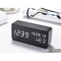Jam Weker Alarm Kayu Digital Voice Control - Black White