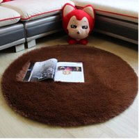 Karpet Bulu Model Bulat Dim. 80CM - Brown